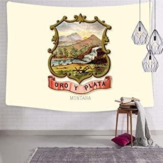 SHDU Retro Great Seal of State of Montana MT Tapestry Wall Hanging Bedding for Living Room Bedroom Dorm Home Decor Blanket 51.2 x 59.1 Inch