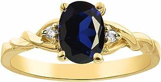 Juego de anillos de diamantes y zafiro en oro amarillo de 14 quilates