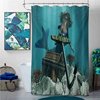 homecoco Shower Curtains for Bathroom Kids Mermaid,Mermaid in Ocean Sea Discovering Pirates Treasure Chest Mythical Art Print,Azure Brown Cream,W36 x L72 Shower Curtain for Shower stall