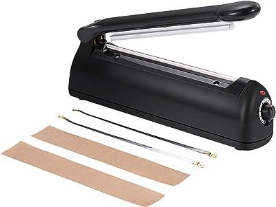 Sellador de bolsas de presión de mano negro con kit de reparación (Negro-200)