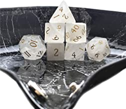 Amatolo Stone Dice , Set of 7 Handmade Dices for RPGs ,Dungeons & Dragons Dice Made by Natural Gemstones. (A1 White Crystal)