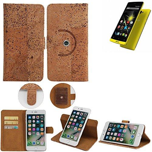 K-S-Trade® Schutz Hülle Für Archos 50 Diamond Handyhülle Kork Handy Tasche Korkhülle Schutzhülle Handytasche Wallet Case Walletcase Flip Cover Smartphone Handyhülle