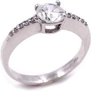 Gioielli Aurum - Anello solitario in oro bianco 18 kt. con zirconi, anello per fidanzamento