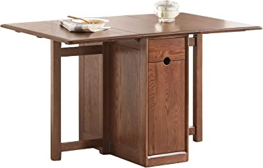 JSZMD Space Saving Oak Folding Dining Table with Large Storage Area, Multi-Purpose Folding Table Laptop Computer Desk, Brown