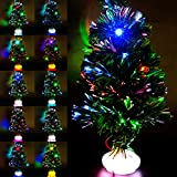 Sapin Noël Artificiel Lumineuses en Fibre Optique Petit LED Vert Suspensions chaîne de lumière Multicolore Decor Noël Etoiles Flocon Lumineuses 45cm