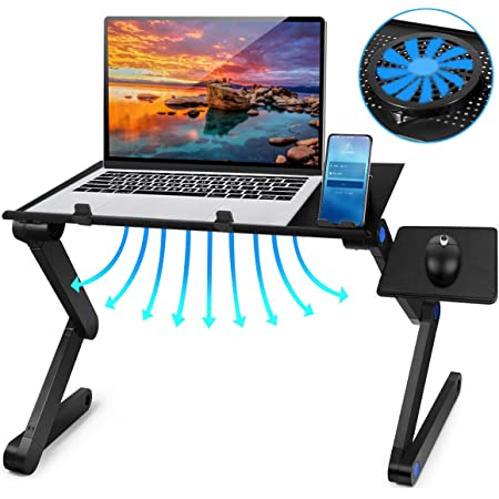 Laptop Notebook Stand Reading Holder with Large Cooling Fan /& Mouse Pad for Bed Couch Office Sofa 2021 Adjustable Laptop Bed Table Computer Stand