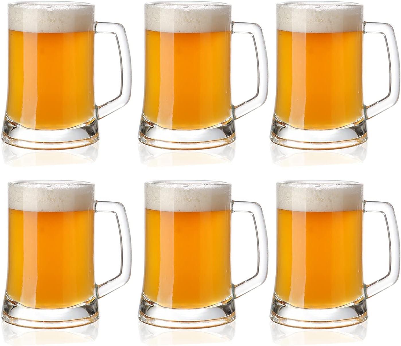 DONGTAISHANGCHENG Jarras de Cerveza Taza de Cerveza Grande 17 onzas Tazas Grandes de Vidrio con Mango Medio litro Taza de Cerveza litros Gafas Reutilizable Cerveza Vidrio 6 Paquete