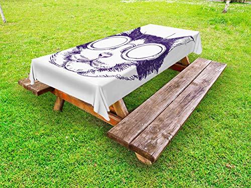 ABAKUHAUS Kattenliefhebber Tafelkleed voor Buitengebruik, Grappig Cool Pet Zonnebrillen, Decoratief Wasbaar Tafelkleed voor Picknicktafel, 58 x 120 cm, Indigo Baby Pink