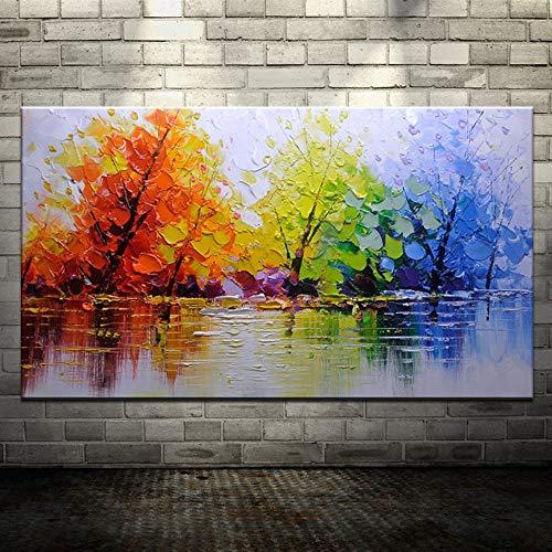 XIAOXINYUAN Pintura Al Óleo Pintada A Mano 100% Árbol Colorido Cuadro Abstracto De La Pared del Arte Moderno De La Decoración del Hogar Pintura Al Óleo 80×120Cm