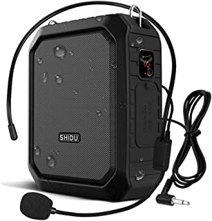 SHIDU Bluetooth Voice Amplifier, Personal Voice Amplifier 18W with Wired Microphone Headset Portable Waterproof Bluetooth Speaker Rechargeable PA System Power Bank for Outdoors,Teachers,Shower,Beach