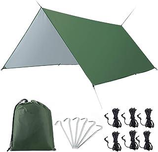 タープ タープテント 天幕シェード 防水タープ キャンプ用品 3m*3m 収納袋付き2-6人適用 タープUV 日焼け紫外線カット 多機能タープ 超軽量携帯便利タープセット