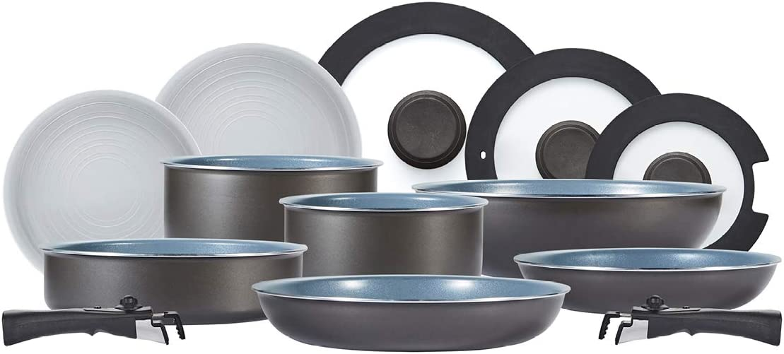 Graphite Tower Freedom T800200 13 Piece Cookware Set with Ceramic Coating Aluminium Stackable Design and Detachable Handles