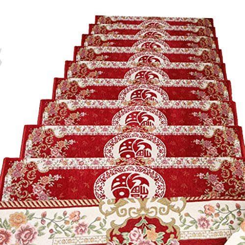 XIANWEI rutschfeste Teppich Treppenstufen - for Holztreppen, 6-teiliges Innen Pedale (Color : Red, Size : 75 * 26cm)