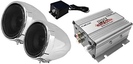 Pyle Motorcycle Two 3 Inch Speakers, 50 Watt, All-Terrain, Weatherproof Speaker and Amplifier Sound System, Handlebar Mount, FM Radio for ATV, Snowmobile, Scooter, Boat, Waverunner, Jetski (PLMCA20)