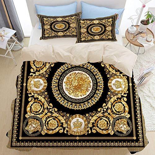 Set di biancheria da letto 3 pezzi di qualità premium, design quadrato barocco dorato, set copripiumino moderno deluxe con cerniera con 2 fodere per cuscini Ultimo set di copripiumino trapunta in micr