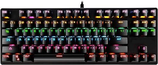 Cgration Tastiera Meccanica 87 Tasti Interruttore Wired Gaming Tastiere con Retroilluminazione RGB per Tablet Desktop Russ...