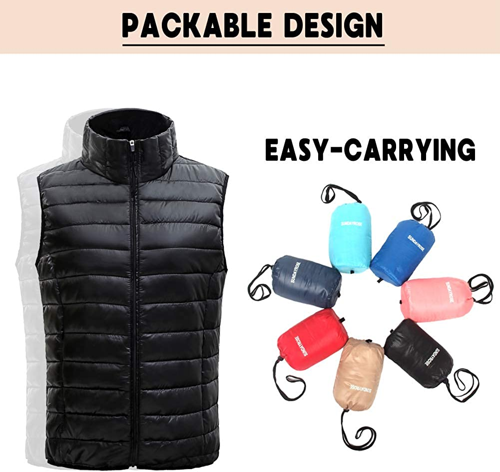 SUNDAY ROSE Women Puffer Vest Packable Lightweight Quilted Vest Padded Gilet