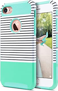 ULAK iPhone 7 Case, Colorful Series Slim Hybrid Dual Layer Scratch Resistant Hard Back Cover Shock Absorbent TPU Bumper Case for Apple iPhone 7 4.7 inch-Minimal Mint Stripes