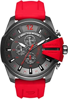 Diesel Men's Mega Chief Quartz Stainless Steel and Silicone Chronograph Watch, Color: Grey, Red (Model: DZ4427)