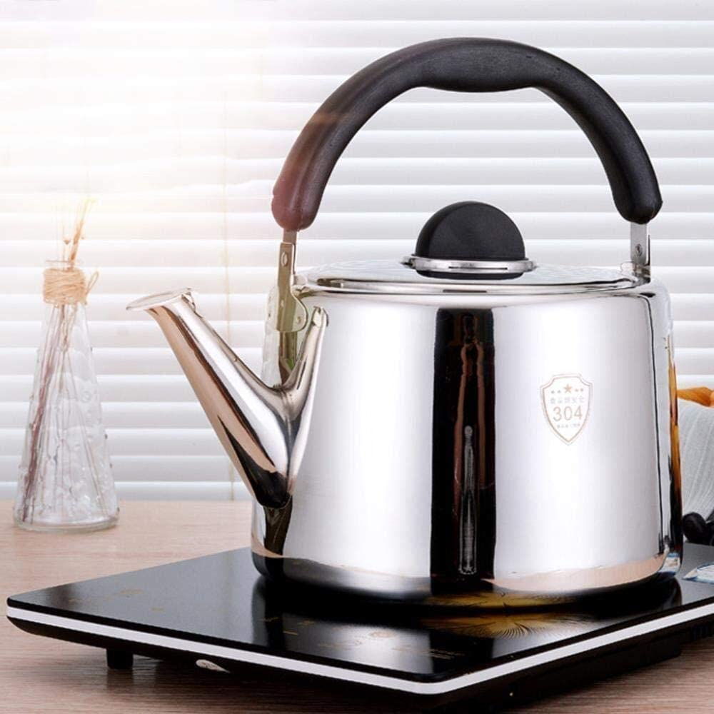 Bouilloire en acier inoxydable, Sifflet Bouilloire ouverte, gaz Cuisinière à induction Bouilloire universelle, ménage 5 / 6L bouilloire. (Color : 5l) 6l