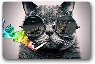 ZMvise Rubber Fashions Doormat Cool Sunglasses Cat Indoor Outdoor Front Welcome Door Mat 18 x 30 inch