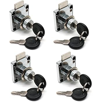 4Pcs Security Lock Stainless Steel for Drawer Cabinet Lockers 19mm Cylinder Cam Lock with Keys COMOK