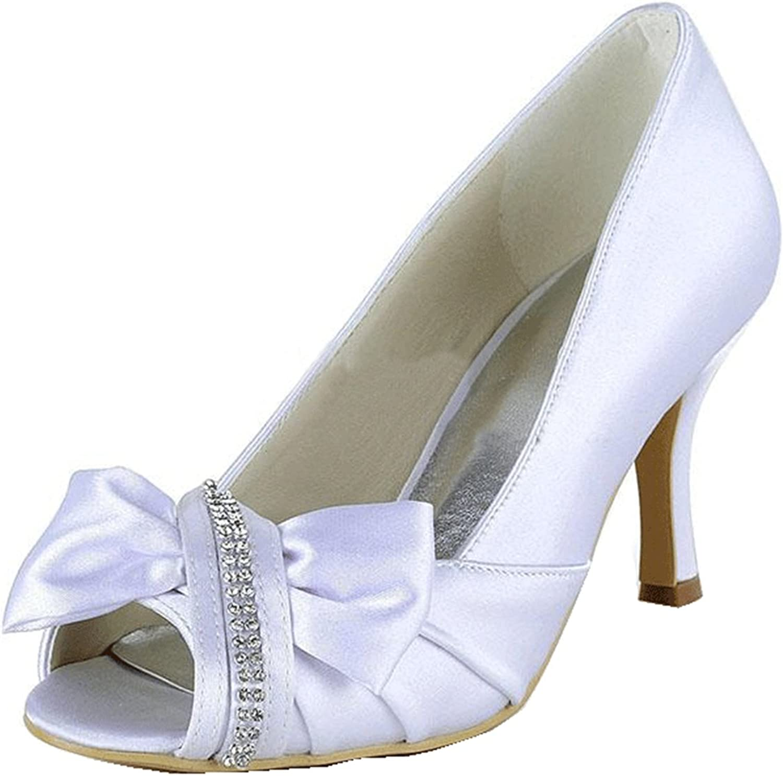 Minishion Girls Womens Knot Crystals Satin Bridal Wedding Sandals High Heel Prom shoes