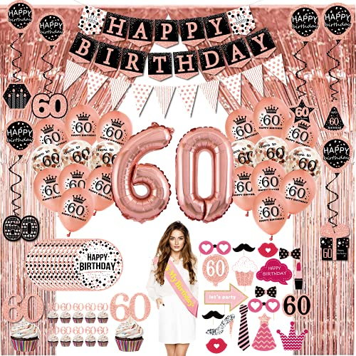60th Birthday Decorations for Women - (76pack) Rose Gold Party Banner, Pennant, Hanging Swirl, Birthday Balloons, Foil Backdrops, Cupcake Topper, Plates, Photo Props, Birthday Sash for Gifts Women