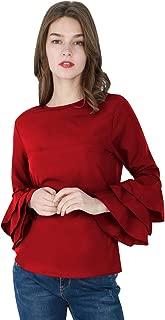 Women's Ruffle Long Sleeve Shirts Plus Size Round Neck Blouse Chiffon Casual Tops XS-4X