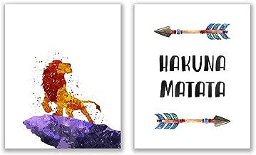 Summit Designs Hakuna Matata Watercolor Lion King Movie Wall Art Prints - Set of 2 (8x10) Poster Photos - Kids Bedroom