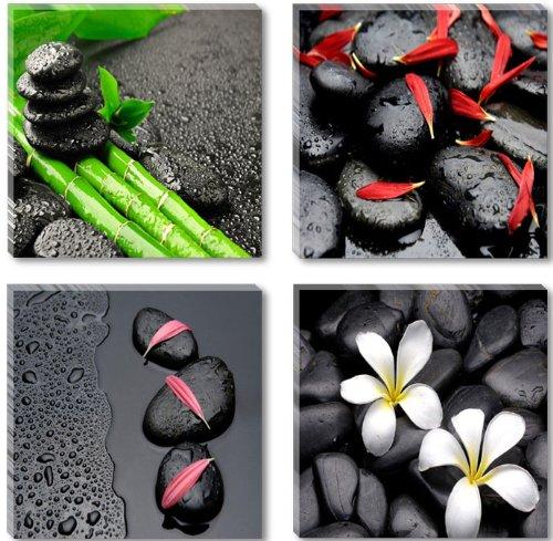 Visario Leinwandbilder 6602 Bild auf Leinwand Spa schwarze Steine 4 x 30 x 30 cm, 4 Teile