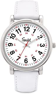 Medical Scrub Watch - Genuine Leather Band, 24 Hour Markings, Second Hand, Quick Read Face