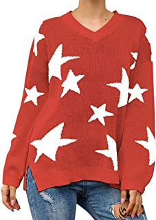Exlura Women's Knit Sweater Star Printed V Neck Long Sleeve Side Split Casual Loose Pullover Tops