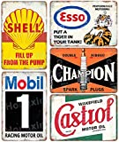 HONGXIN Auto Motorrad Öl Benzin Vintage Metallschilder Retro Poster Benzin Garage Werkstatt Mann Höhle Bar Wanddekor 8 × 12 Zoll - 5 Stück