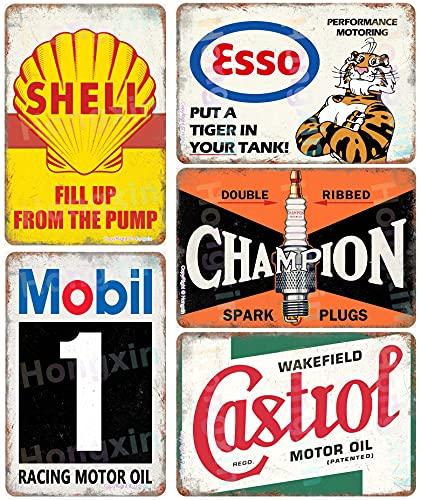 Hongxin® Auto Moto Olio Benzina Targhe in Metallo Vintage Poster retrò Benzina Garage Officina Man Cave Bar Decorazione da Parete 8 × 12 Pollici - 5 Pezzi