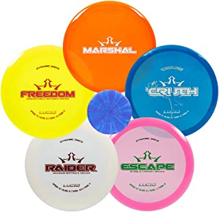 Dynamic Discs Lucid Disc Golf Starter Set | Premium Plastic Frisbee Golf Starter Set | Marshal Putter | EMAC Truth Midrange | Escape Fairway Driver | Freedom Distance Driver | Raider Distance Driver