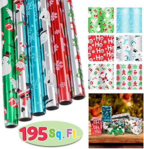 Set di 6 rotoli di carta da regalo (76,2 x 396 cm) per regali natalizi, decorazioni per regali di Natale, classi scolastiche, bomboniere, decorazioni per regali di Natale.