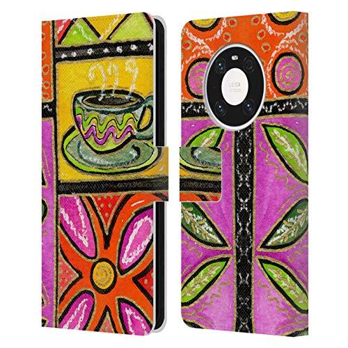 Head Case Designs Offiziell Zugelassen Wyanne Kaffee Und Blumen Natur Leder Brieftaschen Handyhülle Hülle Huelle kompatibel mit Huawei Mate 40 Pro 5G