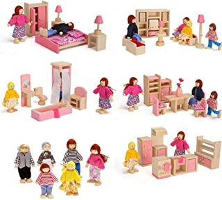 Liushuliang 5 Sets of Colorful Wooden Dollhouse Furniture (41 Pieces) with 6 People Wooden Family Dolls (2-4 inches Each)
