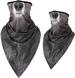 Triangle Mask, Ice Silk Quick-Drying Animal Mask, Sunscreen Breathable Outdoor Riding Collar for Men and Women, Bicycle Headscarf, Bear