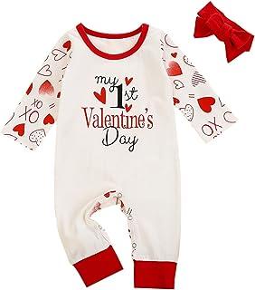 الوليد الرضع طفل فتيات عيد الحب إلكتروني رومبير بذلة+ رباطات (Color : White, Size : 24M)