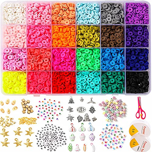 Clay Flat Beads,4080+pcs 24 Colors 6mm Polymer Clay Beads for Jewelry Making Kit, Adults Girls DIY Arts Craft Beads Bracelet Kit, HEISHI Beads Necklace Ring Making Kits with Charm Pendant Letter Beads