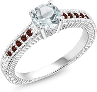 Gem Stone King 925 Sterling Silver Sky Blue Aquamarine and Red Garnet Women's Ring (0.95 Ct Round Cut, Available 5,6,7,8,9)