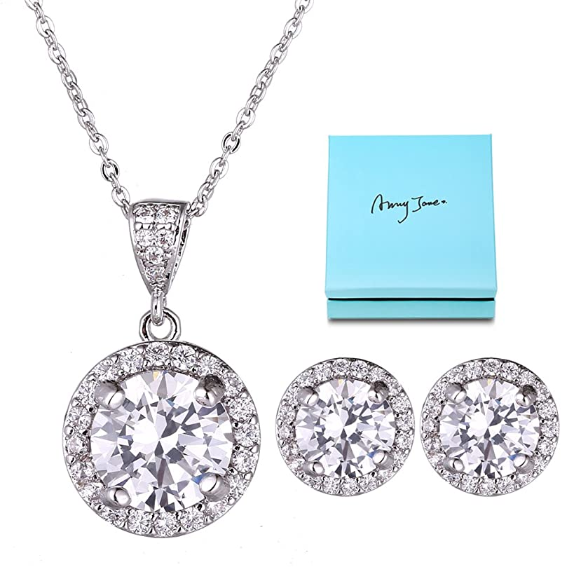 AMYJANE Halo Crystal Jewelry Set - Sterling Silver Round Cubic Zirconia Crystal Bridal Pendant Necklace Earrings Set for Wedding Bride Bridesmaids