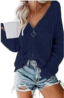 Macondoo Women Fall Winter Coat Knit Jumper Hooded Zipper Up Sweater