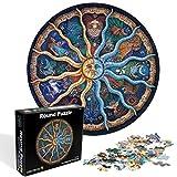 O-Kinee Redondo Puzzle, 1000 Piezas Rompecabezas Redondo, Puzzle Adultos, Puzzle Creativo, Rompecabezas para Niños, Rompecabezas Circular Juguete Intelectual Desafío Intelectual Juegos (Constelación)