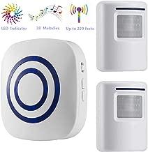Door Chime,DOHAOOE Wireless Business Door Motion Sensor Detector Smart Visitor doorbell Home Security Driveway Alarm with 1 Plug-in Receiver and 2 PIR Detector Weatherproof(White)