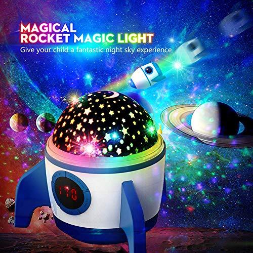 (2019 Neuest) Amouhom Sternenhimmel Projektor, LED Raketenform Baby Lampe mit Fernbedienung Kinder Nachtlicht 360°Rotation und Timing Schlaflicht Geschenke für Kinder/Frauen/Freunde(Blau und Weiß)