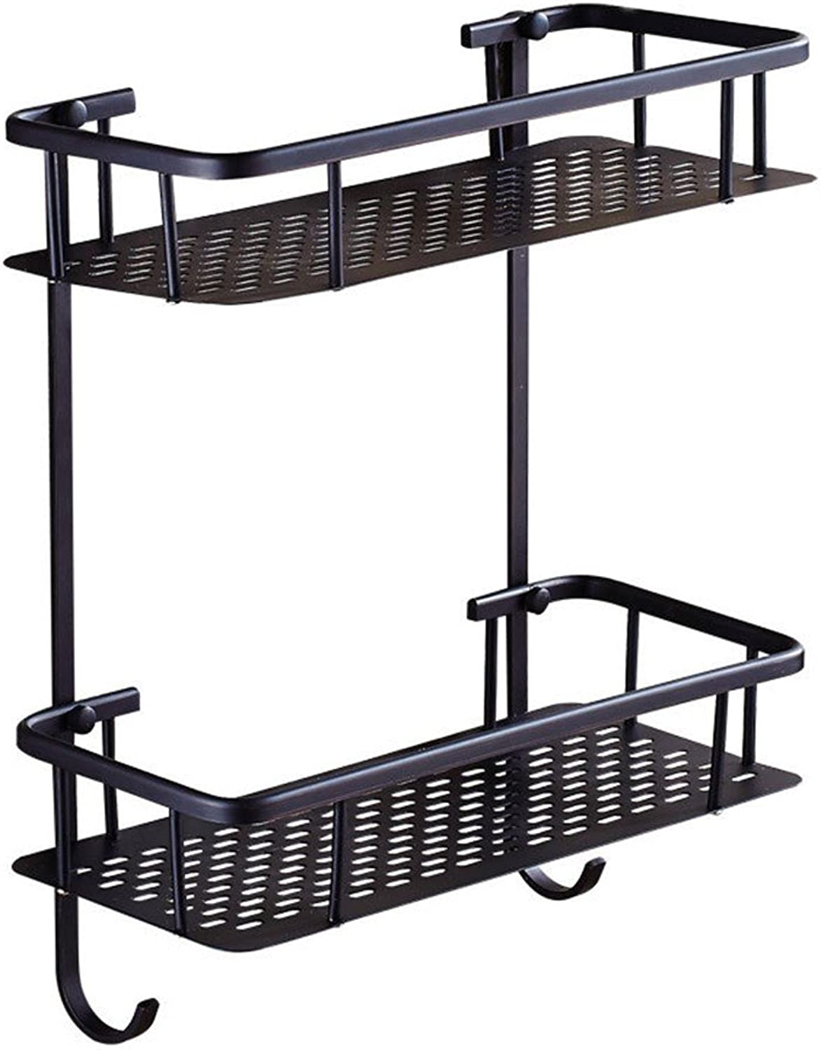 XY&XH Bathroom, All Copper, Black, Double Layer, Square, with Hook Rack