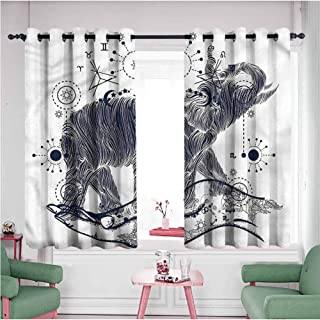 Mannwarehouse Grommet Curtains for Bedroom,Blackout Draperies/Drapes for Window, Psychedelic - Sacred Occult Symbol, Sliding Door Insulated Curtains - Set of 2 Panels, 63